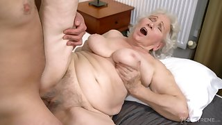 Elderly lady gets their way hairy cunt drilled in ways she not in a million years experienced