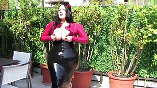 Busty Rose Lady on the Balcony - Outdoor Latex Blowjob Handjob in Italy - Cum on my Tits