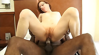 Tiny redhead mature gets fucked unconnected with a big black learn of