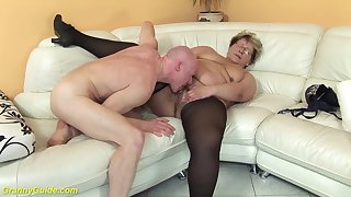 puristic 78 years old bbw granny apropos sexy stoxkings enjoys a rough fucking lesson