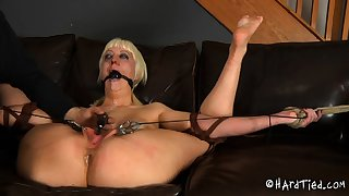 Mature blonde BBW floozy entangled in fetish BDSM