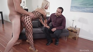 Blonde wife appears in all directions a shunned threesome with hubby and a stud