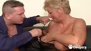 Huge breasts granny gets got laid by two stupendous dicks