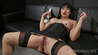 Asian whore sticks large toys all over both holes during a rare solo