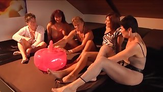 Inflatable ball dildo getting tested by a group of horny mature battalion