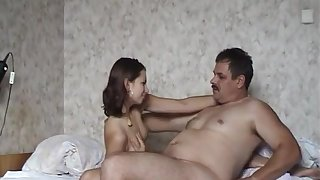 Old Russian Guy Fucks His Young Hairy Girl On Her Purfle