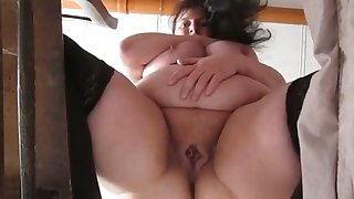 This mature whore has some nice big belly and she masturbates like a pro